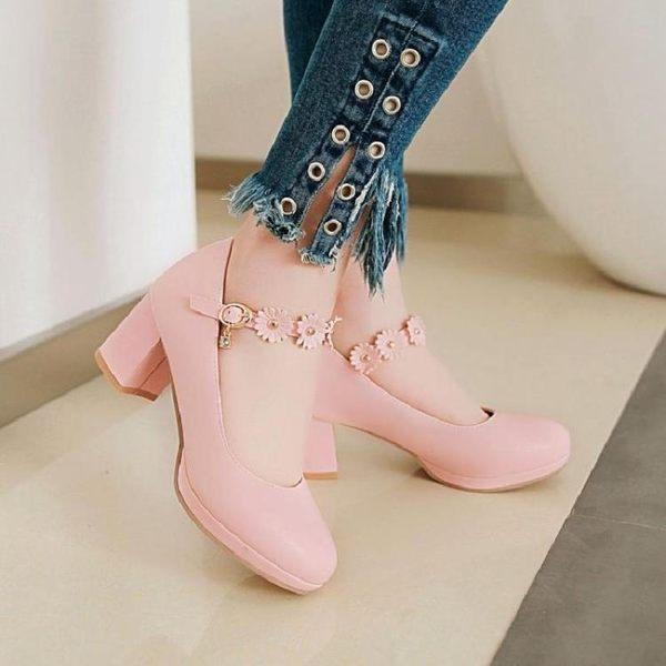 大尺碼搭扣百搭甜美小清新中跟單鞋粗跟圓頭高跟女鞋新款公主鞋 DN18691【棉花糖伊人】