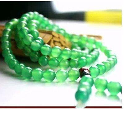 阜新純天然瑪瑙黃綠色108粒佛珠手鍊