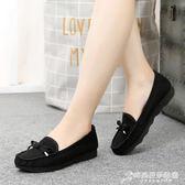 老北京布鞋女鞋豆豆鞋平跟軟底蝴蝶結單鞋百搭黑色工作鞋女休閒鞋 時尚芭莎
