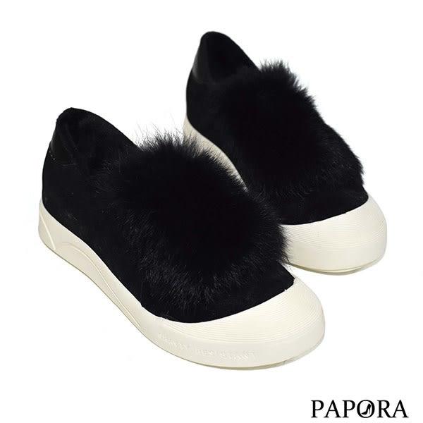 PAPORA絨球平底鞋KYK3黑/米