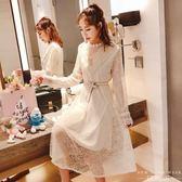 洋裝 韓版立領亮片拼接蕾絲連身裙修身顯瘦收腰中長裙子女