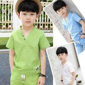 男童套裝男童套裝兒童棉麻夏裝新款夏季中大童男孩兩件套 mc6749『優童屋』
