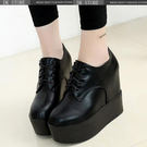厚底女鞋防水臺皮鞋內增高坡跟女鞋