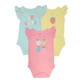 Carter s卡特 純棉蝴蝶袖包屁衣三件組 橘水果 | 女寶寶連身衣(嬰幼兒/兒童/小孩)