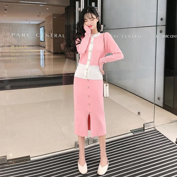 絕版出清 韓國小香風珍珠扣針織衫套裝長袖裙裝