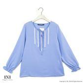 【INI】迷人氣息、優美色調氣質上衣.水藍色