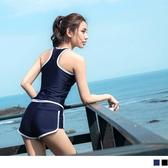 《VC0101》撞色滾邊內墊泳裝背心+泳裝真理褲 OrangeBear