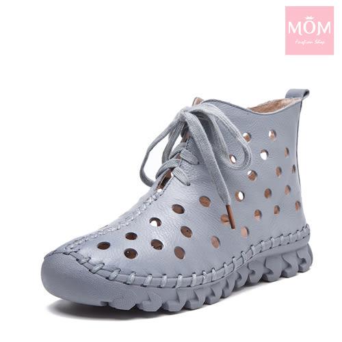 全真皮手工縫線軟底水玉洞洞綁帶休閒短靴 灰 *MOM*