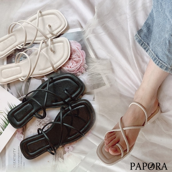 PAPORA平底夾腳休閒拖鞋涼鞋KK1279黑/白