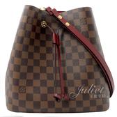 Louis Vuitton LV N40214 Neonoe 棋盤格紋肩斜兩用水桶包.櫻桃紅 全新 現貨【茱麗葉精品】