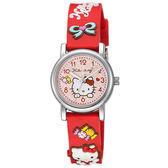 Hello Kitty 甜蜜蘋果造型腕錶-紅