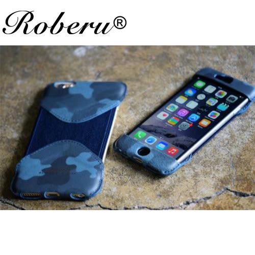 【日本ROBERU】iPhone6 Plus /6s Plus手機套 皮套-迷彩藍