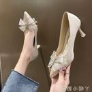 蝴蝶結高跟鞋女細跟2021年春季新款百搭女鞋時尚尖頭水鑚少女單鞋 蘿莉新品