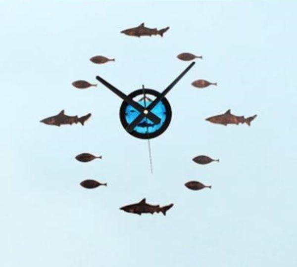 海洋風壁貼時鐘DIY立體鯊魚海底小魚缸造型靜音掛鐘民宿餐廳店牆面裝飾可愛動物時鐘-米鹿家居