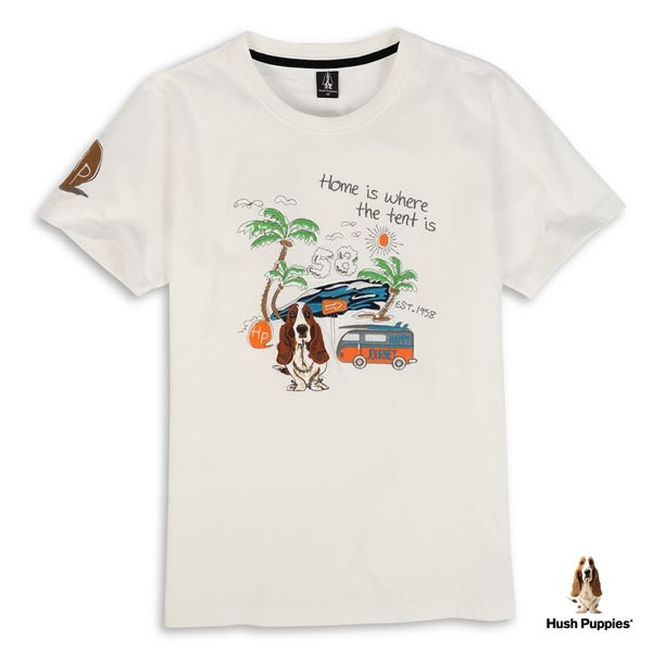 Hush Puppies T恤 男裝度假風格刺繡狗短袖T恤