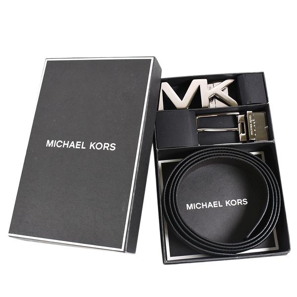 美國正品 MICHAEL KORS 男款 素面雙釦頭雙面用窄版皮帶禮盒組-黑/咖啡色【現貨】