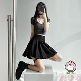 百褶裙女短裙半身裙高腰顯瘦夏季格子jk裙a字裙【桃可可服飾】