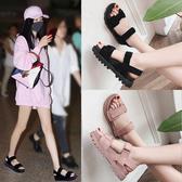 涼鞋女學生2020新款夏季女鞋子韓版原宿風平底百搭厚底鬆糕女鞋潮