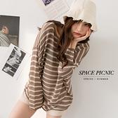長袖 針織 Space Picnic|條紋透膚上衣-3色(現貨)【C21072011】