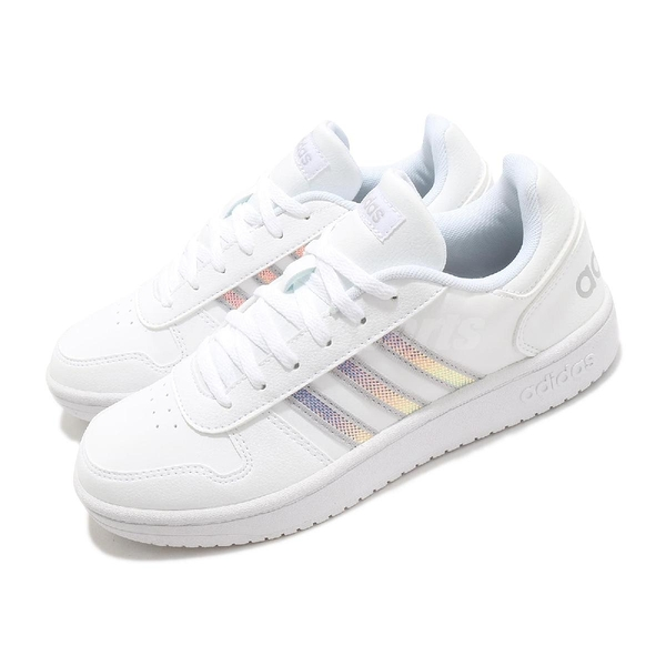 adidas 休閒鞋 Hoops 2.0 白 銀 女鞋 三條線 基本款 【ACS】 FW3535