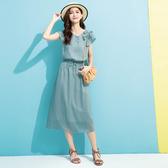 春夏7折[H2O]落肩拼接蝴蝶結裝飾腰圍抽繩調節長洋裝 - 深藍/粉/淺藍綠色 #0674002