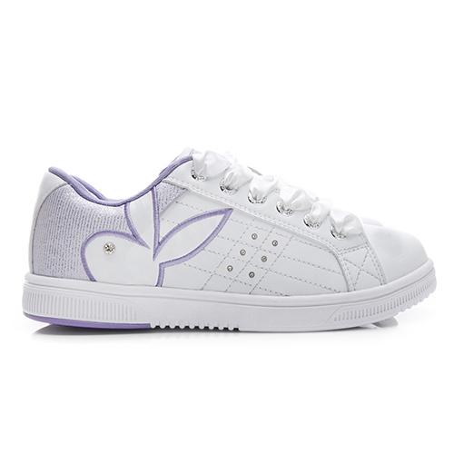 PLAYBOY 樂活主張 後跟亮線拼接運動鞋-白(Y3728)