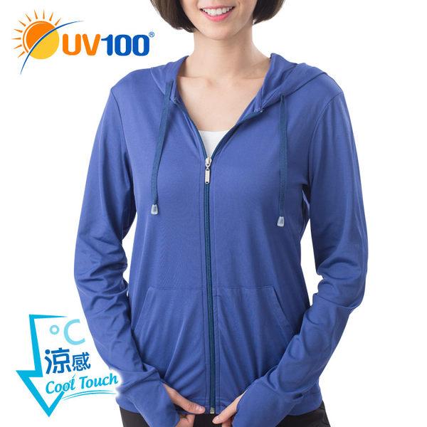 UV100 防曬 抗UV-涼感前短後長連帽外套-女