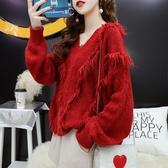 針織毛衣女 秋新款很仙的紅色毛衣女寬鬆流蘇慵懶風V領露肩百搭洋氣上衣  維多