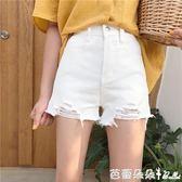 牛仔短褲女 春季女裝新款韓版寬鬆須邊闊腿熱褲學生百搭顯瘦高腰破洞牛仔短褲 芭蕾朵朵