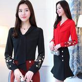 復古刺繡雪紡衫女長袖2018春季新款韓版V領寬鬆顯瘦系帶襯衫上衣『韓女王』