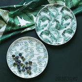北歐陶瓷盤子餐盤湯盤 居家裝飾綠色植物葉子深盤甜點盤【潮咖地帶】