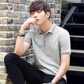 男士短袖T恤夏季新款韓版翻領Polo衫潮流修身男裝半袖體恤上衣服