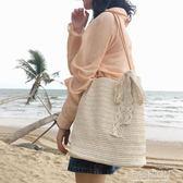 港風ins單肩休閒草編織包森系沙灘斜挎女包學生手提百搭簡約包袋-Ifashion