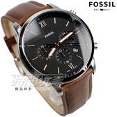 FOSSIL 公司貨 羅馬數字 三眼多功能計時腕錶 真皮錶帶 男錶 中性錶 防水手錶 咖啡色x黑色 FS5408