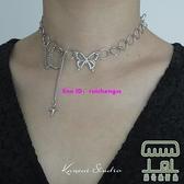 女星星蝴蝶頸鏈項鏈小眾設計感小眾嘻哈鏈子【樹可雜貨鋪】