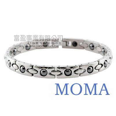 【MOMA】白鋼鍺磁手鍊-財源滾滾窄版