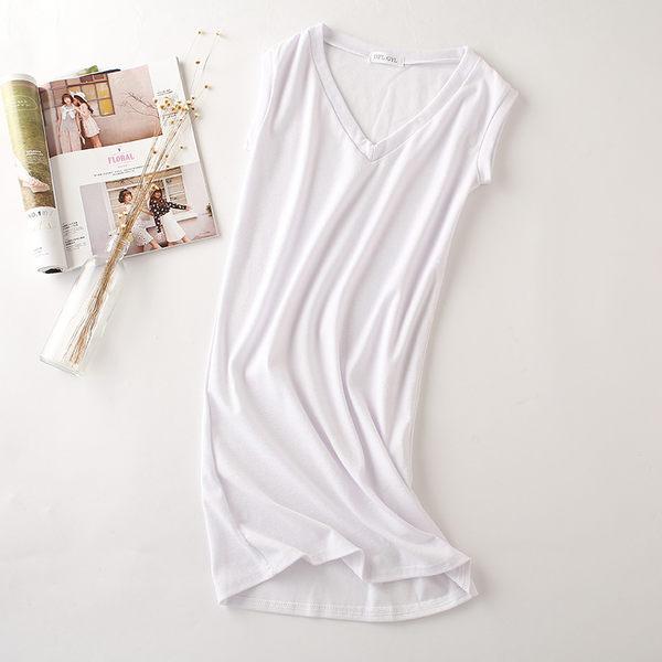 純棉無袖T恤衫女修身包臀V領打底衫中長款體恤裙 +RV領無袖T恤101#  &小咪的店&