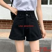 黑色牛仔短褲女夏季薄款高腰寬松a字五分熱褲子【CH伊諾】