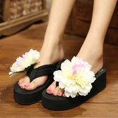 K.J時尚(WUNa07)手工花朵拖鞋波西米亞甜美度假沙灘拖旅游人字高跟拖一雙