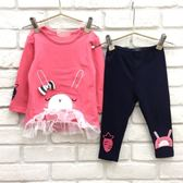 【韓版童裝】寶寶微彈力毛圈兔子蕾絲長版衣套裝-粉【BX18100540】