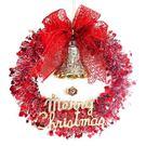 聖誕-摩達客-14吋紅白歡樂金蔥浪漫雪紗花圈