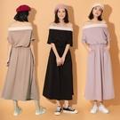 PUFII-洋裝 撞色一字領縮腰長洋裝- 0513 現+預 夏【CP20363】