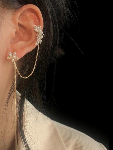 耳環KOUSHU蔻述 金色ins風鍍金鋯石花朵耳線耳夾耳環左耳單支 JUST M