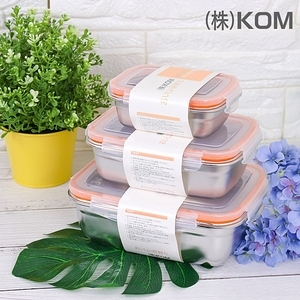 【KOM】日式不鏽鋼保鮮盒-蜜桃橘-三件組-2入