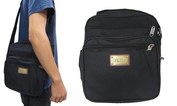 ~雪黛屋~COMELY 斜側包中容量防水尼龍布材質主袋+外袋共六層肩背斜側背隨身簡易包C127