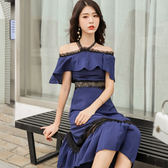 韓系洋裝.禮服.一字肩連身裙夏女長款掛脖長裙超仙吊帶雪紡裙子法式收腰GT525快時尚