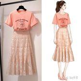 小清新套裝蕾絲半身裙夏裝2019洋氣很仙的女神范裙子兩件式洋裝 QG27078『Bad boy時尚』