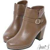 Ann'S差不多該買了-顯瘦雙V細扣帶防水台粗跟短靴-咖啡