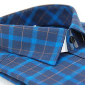 【金‧安德森】深淺藍黃大格紋保暖窄版長袖襯衫