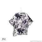 【INI】有型曲線、摺衣不規則斜擺寬版上衣.黑色